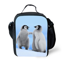 Penguin Print Kids Lunch Bag Durable Insulated Lunchbox Small Black Lunch Box for Children Boys Customized cooler Bag