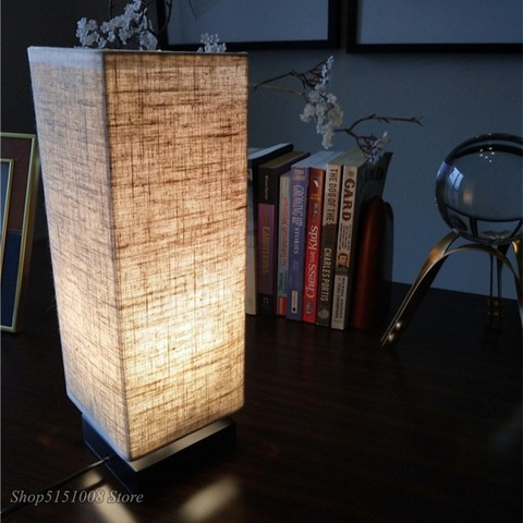 nordic candeeiros de mesa moderno simples linho madeira macica quarto conduziu a luz da mesa