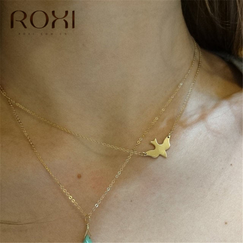 ROXI 2019 New Peace Dove Flying Birds Necklace Women Gifts Clavicle Chain Necklaces & Pendants Maxi 925 Sterling Silver Necklace