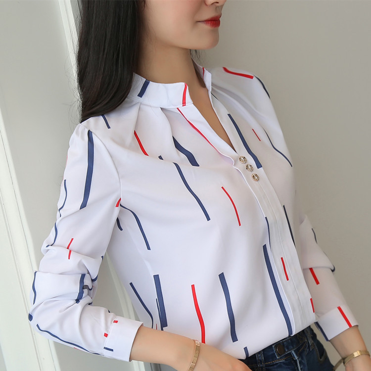 He119c43811ce4d348e2dd37e64e68b28m - Women Fashion White Tops and Blouses Stripe Print Design Casual Long Sleeve Office Lady Work Formal Shirts Female Plus Size