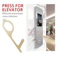 Abridor de porta de bronze portátil imprensa ferramenta elevador higiene mão antimicrobiana abridor de porta de bronze punho da porta limpa chave|Maçanetas|   -