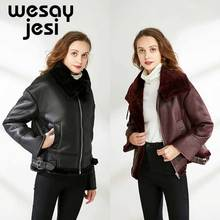 цены 2019 Winter Faux Lamb Leather Jacket Women Faux Leather Lambs Wool Fur Collar Suede Jacket Coats Female Warm Thick Outerwear