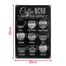 Cartel de menú de Metal café arte hierro arte menú signo placa cartelera para café Café Pub Bar decoración para puerta y pared Retro Vintage