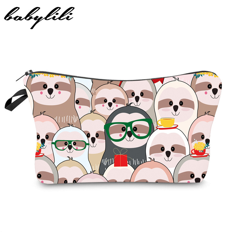 Women Beauty Cosmetic Bag Travel Makeup Organizer Girl Toiletry Bags Sloth Printing Lady Pouchs Waterproof Multicolor Pattern
