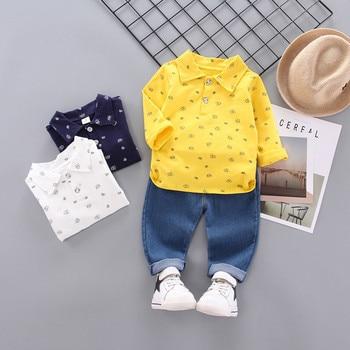 Meninos Roupas de Outono Criança Crianças Bebê Meninos Padrão de Coroa de Manga Longa Shirt Tops + Calça Jeans Conjunto Infantil Meninos Casuais roupas