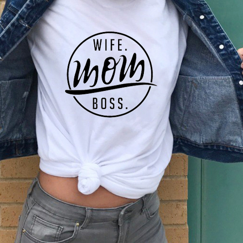 TJCJFO Fashion Women T Shirt Summer Woman Tops Casual <font><b>Wife</b></font> <font><b>Mom</b></font> <font><b>Boss</b></font> Print Short Sleeve O-neck Tshirt Kawaii Shirts Tees image