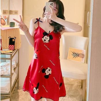 Mickey Silk Dress Women Summer Dresses Minnie Spaghetti Strap  Black Girl Sleeveless Party Vestidos 2020 Clothes