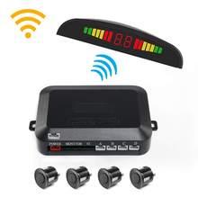 Sensor de estacionamento automotivo, wireless, sistema com 4 sensores, reverso, detector radar, monitor de estacionamento, display led