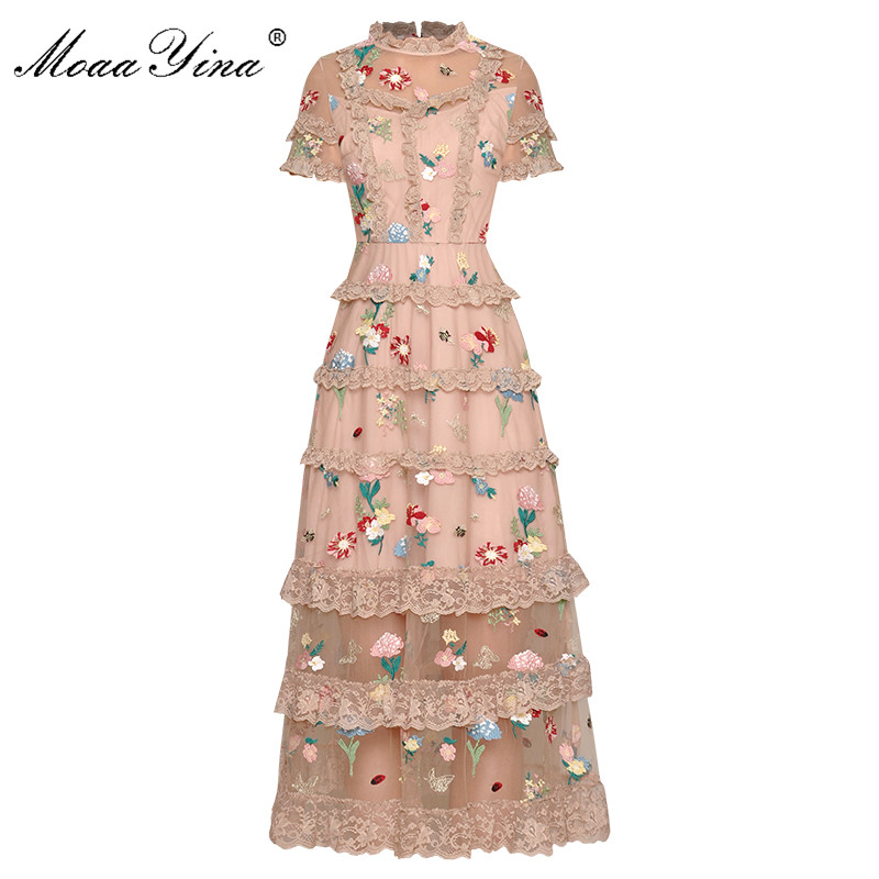 Moaa Yina Fashion Designer Dress Spring Summer Women's Dress Stand Collar Mesh Embroidery Floral Elegant Dresses