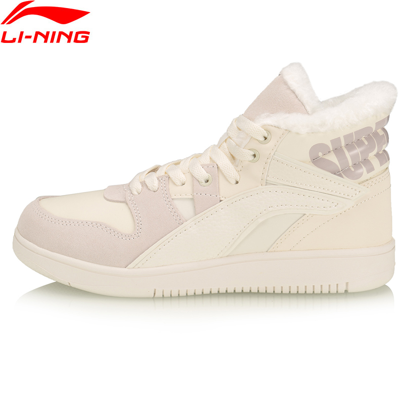 Li-Ning Women SUPERWAVE HI WINTER Lifestyle Classic Shoes Fleece Warm LiNing Li Ning Leather Sport Shoes Sneakers AGCP304 YXB338