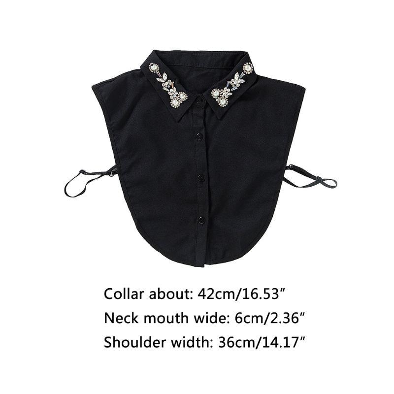 Sweater Decorative Chiffon Fake Collar Rhinestone Faux Pearl Flower Half-Shirt 449F