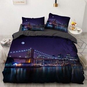 Трехмерная кровать в городском стиле, искусственное одеяло, покрывало, комплект постельного белья, King, Queen, Single Size, домашний текстиль