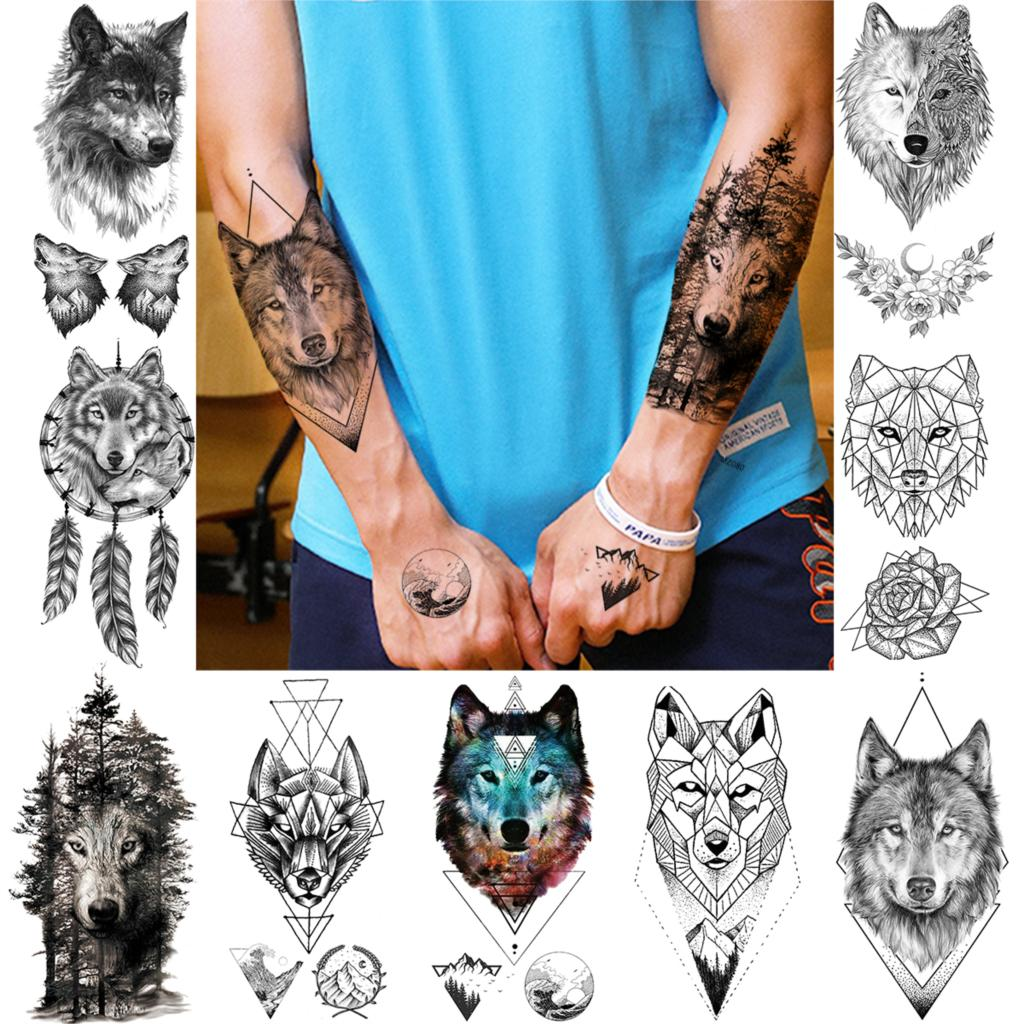 Tribal Style Forest Wolf Temporary Tattoos For Men Women Geometric Body Art Arm Tatoos DIY Washable Werewolf Fake Tattoo Sticker