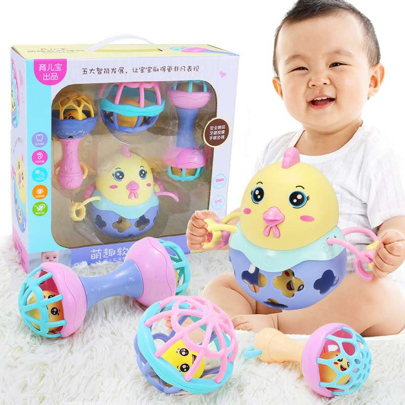 Baby Rattles Toys Intelligence Grasping Gums Soft Teether Plastic Hand Bell Rattle Funny Educational Mobile Toys  Birthday Gifts