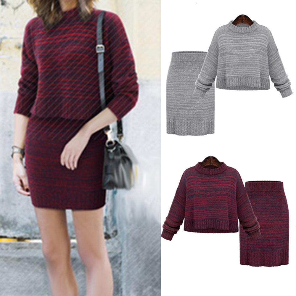 2020 New 2Pcs Set Winter Knitted Sweaters+Mini Skirts 2 Piece Set Lady Knitted Pullovers And Bodycon Skirt Two Piece Women Suit