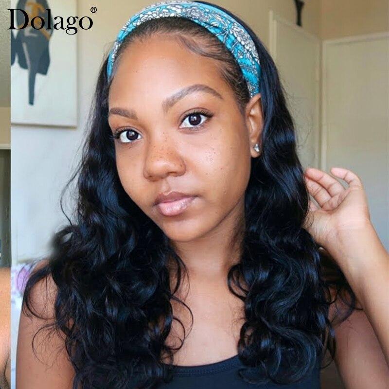 Vücut dalga peruk 100% insan saçı peruk bandı ekli 8-24 inç brezilyalı dalgalı saç peruk insan saçı kadınlar için kafa bandı