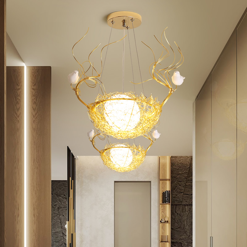 Northern Europe Porch Small Droplight Single Head Corridor Lamp Contracted Bird's Nest Lamp Dining Room Lamp Balcony Lamp LED