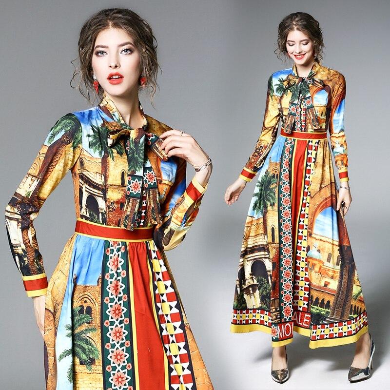 Nouvelle robe de printemps de 2019 avec col noué, manches longues et grand pendule, robe imprimée