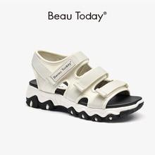 BeauToday Chunky Sandals Women Lycra Webbing Open Toe Hook Loop Summer Beach Ladies Platform Casual Shoes Handmade 38132