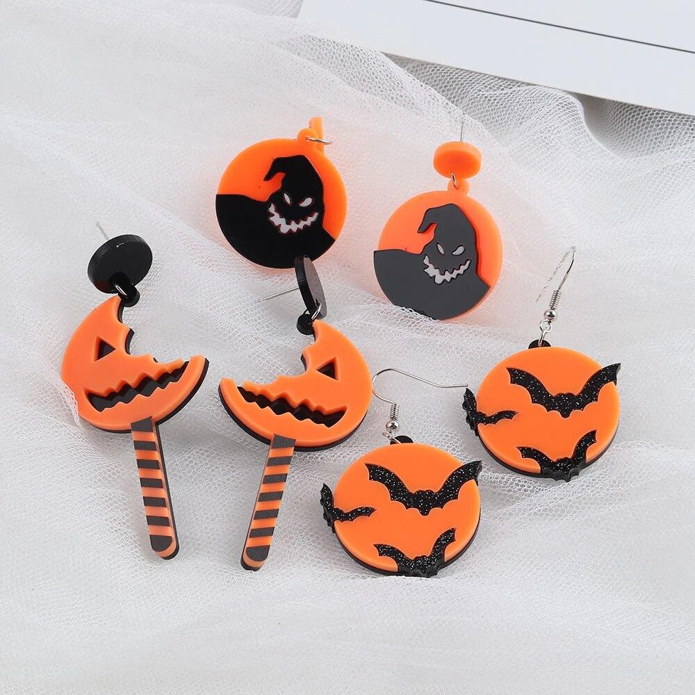 2021 Halloween Round Bat Drop Earrings for Women Personality Scary Ghost Dangle Earrings Girls Punk Nightclub Party Jewelry Gift