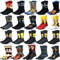 Носки мужские с мультяшным рисунком, оригинальные и интересные смешные носки из чесаного хлопка в стиле Харадзюку, хип-хоп, осень