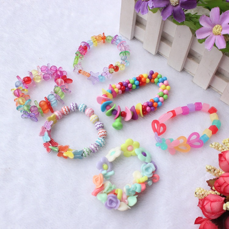 Early Education Bead Toy DIY CHILDREN'S Necklace Bracelets Beaded Bracelet Material Educational GIRL'S Handmade Wearing Rope Gif