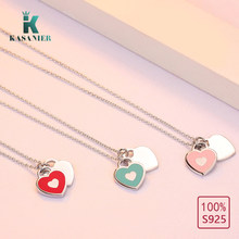 KASANIER New Arrival Love Double Heart to Heart 925 Sterling Sliver Necklace Drift Bottles Jewelry Wholesale Gift For Women(China)
