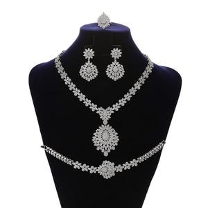 Image 1 - Jewelry Set HADIYANA Vintage Graceful Wedding Bridal Necklace Earrings Ring And Bracelet Set CN1192 Parure Bijoux Femme Mariage