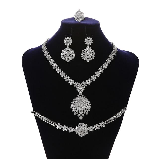 Jewelry Set HADIYANA Vintage Graceful Wedding Bridal Necklace Earrings Ring And Bracelet Set CN1192 Parure Bijoux Femme Mariage