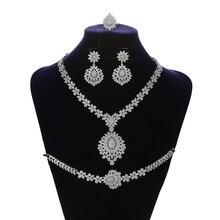 Schmuck Set HADIYANA Vintage Anmutigen Hochzeit Braut Halskette Ohrringe Ring Und Armband Set CN1192 Parure Bijoux Femme Mariage