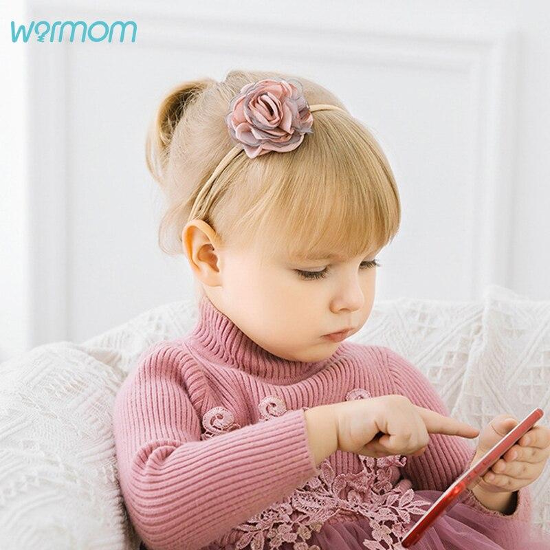 Warmom Baby Girls Big Flower Princess Headwear Kids Fashion Elastic Nylon Headband Newborn Infant Bandeau Hair Band Accessories