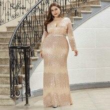 Plus Größe Pailletten Frauen Kleider Langarm Mermaid Tiefem V-ausschnitt Bodycon Maxi Kleid Sexy Burgund Party Kleid Lange Jurken 2020