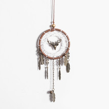 1PC Retro alloy Deer head antlers dream catcher pendant gift feather handmade Yilu safe to send friends wall hanging home decor