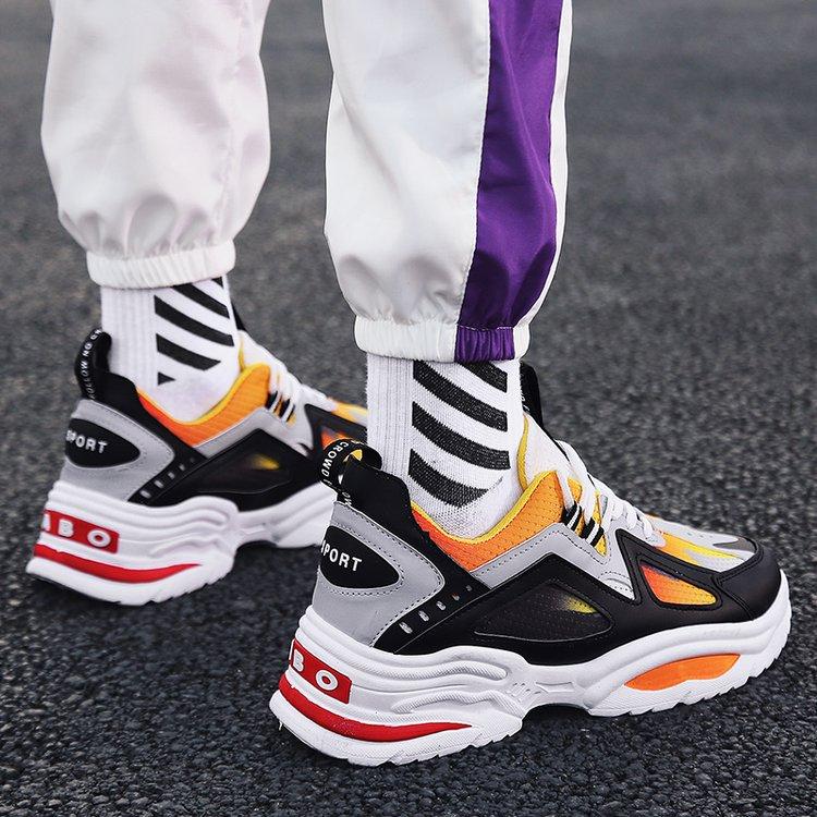 Designer Casual Shoes Men Yellow Sneakers Black White Walking Footwear Breathable Mesh Sneakers Men Shoes Tenis Masculino