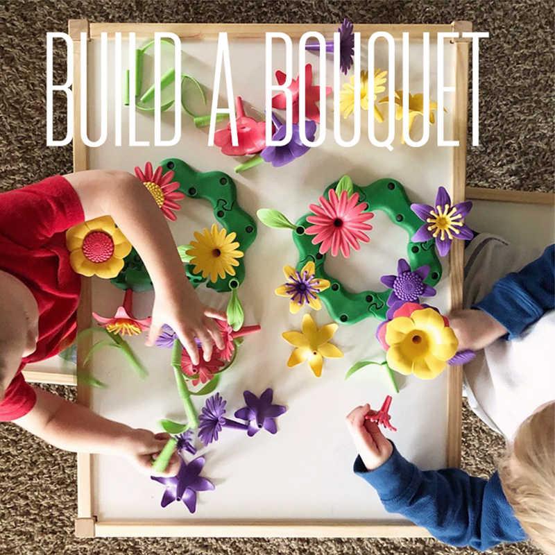 46/98 pçs conjunto diy pop flor brinquedos para meninas crianças arranjo de flores jardim conjunto brinquedo educacional arranjo flores