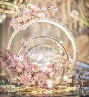 Новый свадебный реквизит, железное искусство, концентрическая настольная посуда для цветов, Креативные украшения, Свадебный Настольный цв...