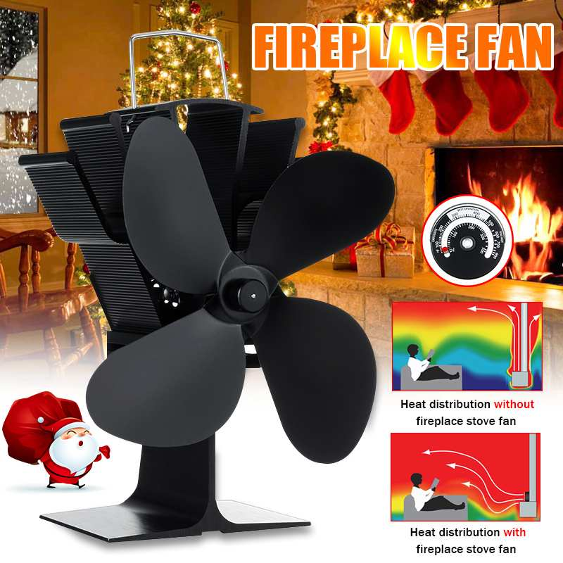 Black Stove Fan With Temperature Monitor 4 Blades Fireplace Fan Wood Burner Stove Thermal Heat Power Stove Fan