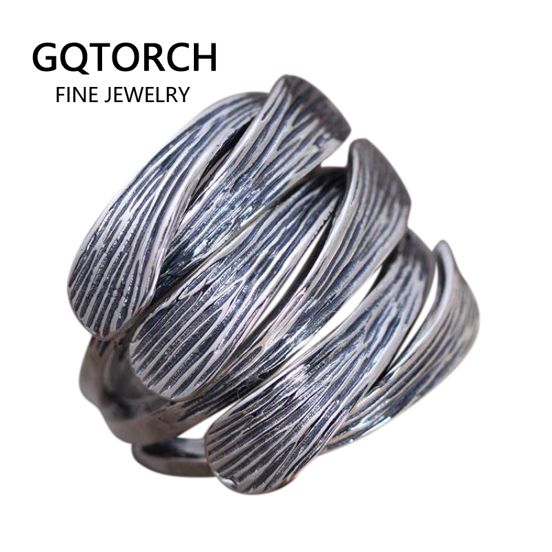 Genuine Solid 925 Sterling Silver Wide Rings Woven Braided Thai Silver Mens Ring Opening Size Fine Jewelry