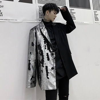 New Fashion Silver Black Loose Casual Coat Men Blazers Stage Singer Costume Korean Style Sequins Blazer Nightclub Bar Clothes