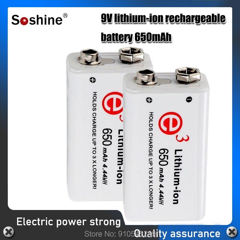 Soshine 6F22 650 мАч 9 В литий-ионная аккумуляторная батарея с портативным аккумуляторным блоком для мультиметра/беспроводного микрофона/будильни...