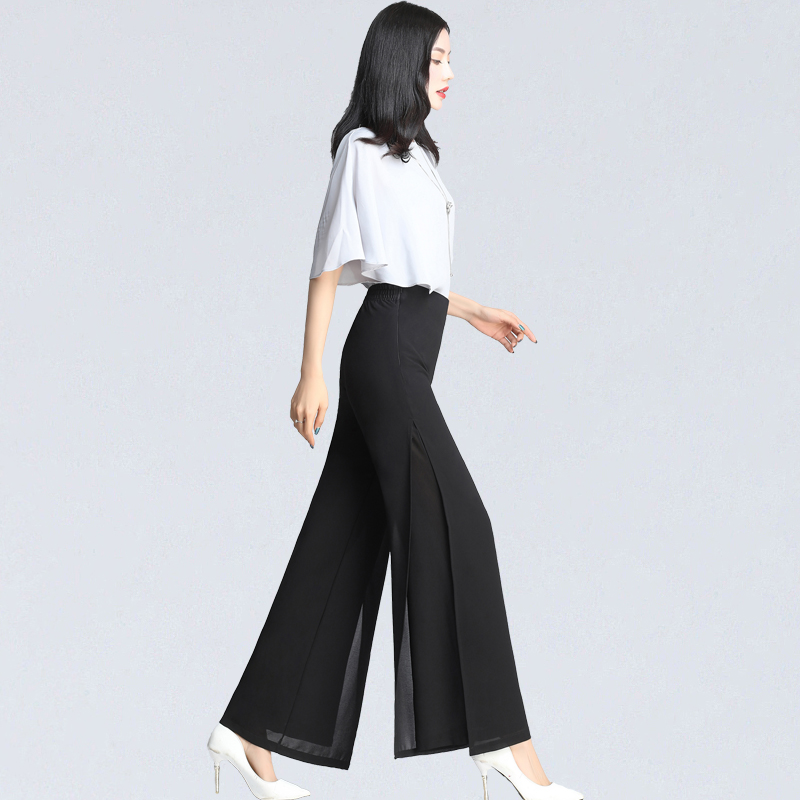 Womens Summer Wide Leg Long Trousers Casual Vintage High Waist Chiffon Side Split Loose Bohemia Skirt   Pants     Capris