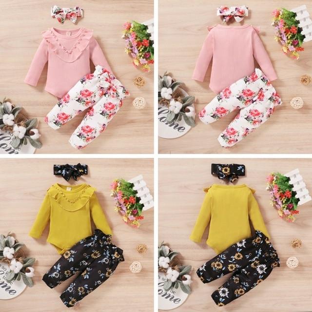 Осенний комплект с длинными рукавами для маленьких девочек однотонный