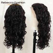Бразильский парик Ребекка 150%, свободные волнистые волосы Реми, предварительно выщипанные, 13x4, передние человеческие волосы на шнуровке, при...