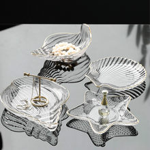 Jewelry Glass Plates and Bowls Set with Glod Rim Nordic Ocean Dessert Fruit Plate Jewelry Storage Tray Decorative Trinket Dish(China)