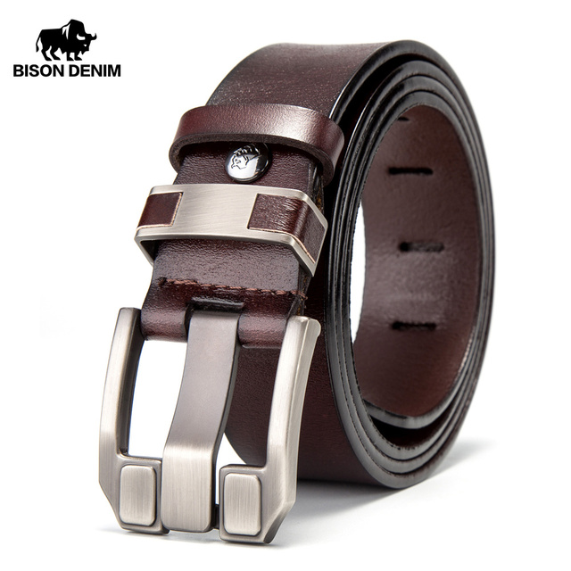 BISON DENIM Men Belts Cow Leather Jeans Waistband Genuine Leather Male Belt Soft Alloy Pin Buckle Mens Belt N71350 2C