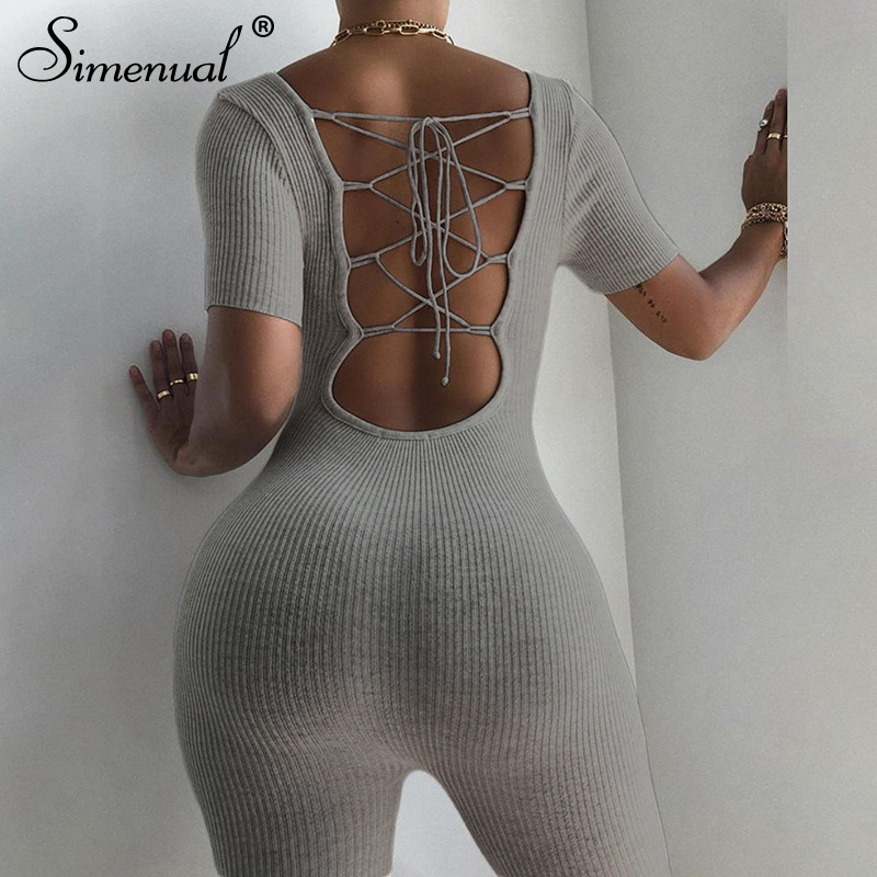 Simenual Ribbed Backless Lace Up Biker Shorts Playsuit Women Short Sleeve Fashion Skinny Romper Solid Bodycon Sexy Hot Playsuits
