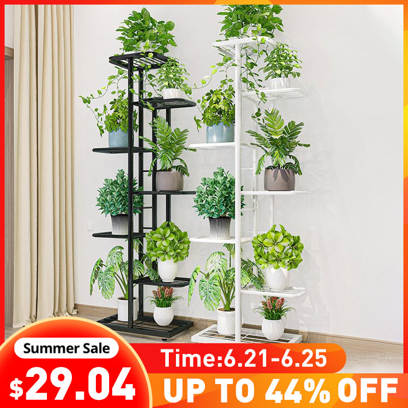 5/6/7/8Layers Iron Flower Stand Pots Tray Plant Shelves Planter Display Rack Storage Holder Shelf Home Balcony Garden Decoration