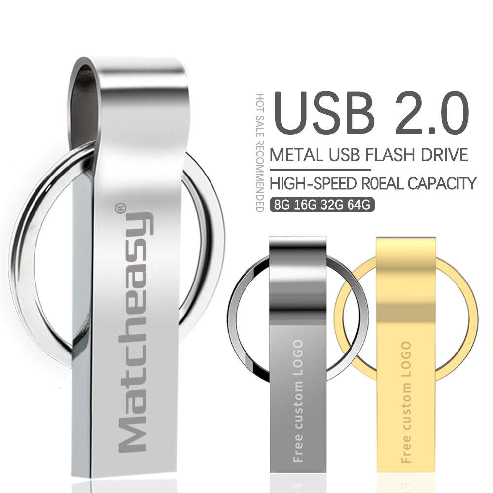 Metal Pen Drive 64GB Memoria Gray Usb Flash Drive 8GB 4GB Flash Usb 2.0 Pendrive 16GB 32GB Cle Usb Stick 128GB Free Custom Logo