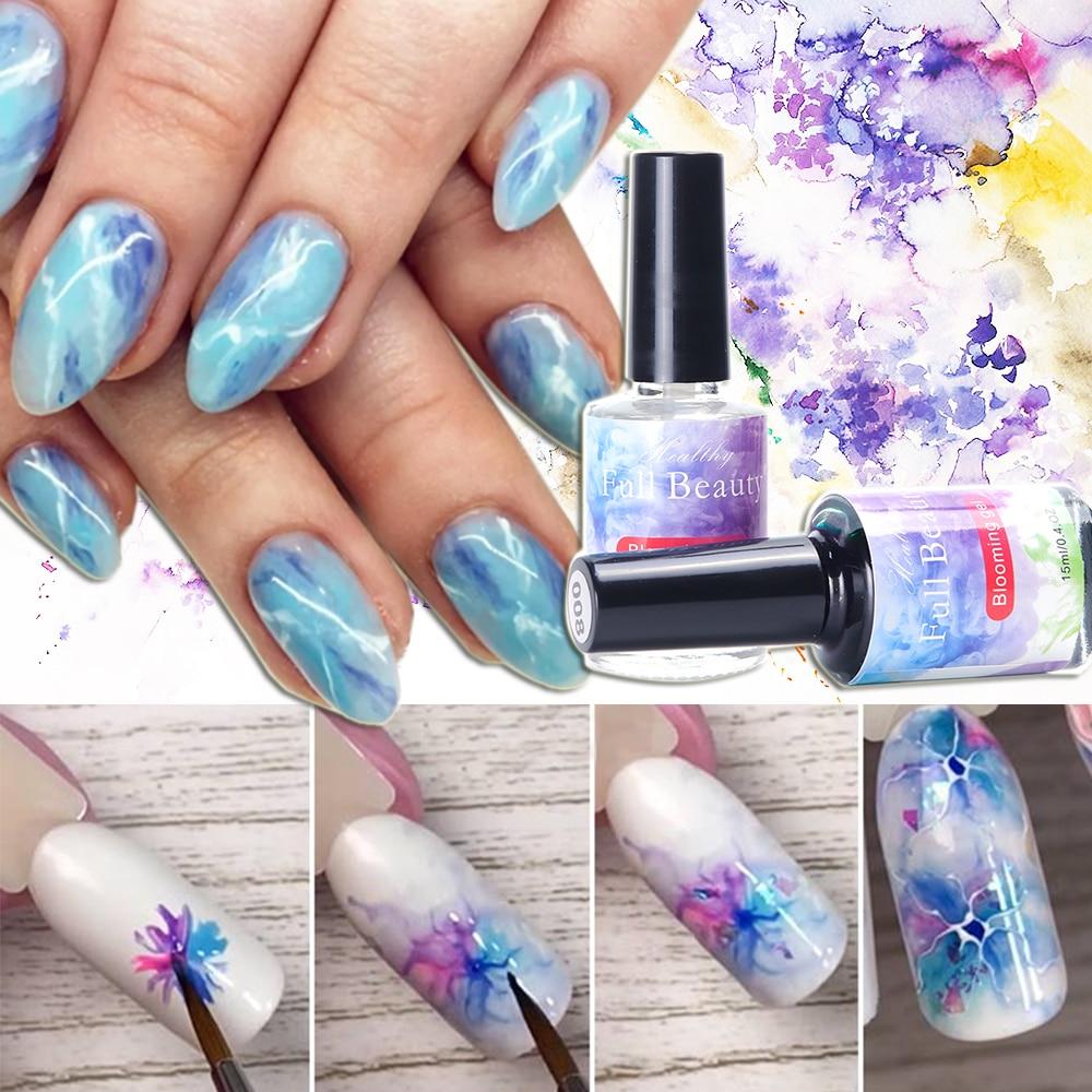 12 couleurs effet fleuri Gel aquarelle encre vernis bricolage marbre bulle fumée hybride vernis ongles floraison peinture ToolGL1551-1