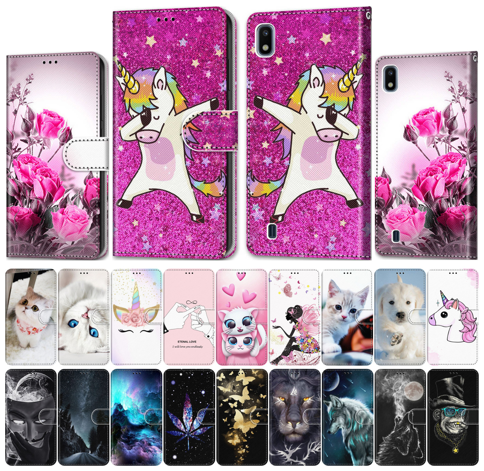 For Case Alcatel 1 1S 2019 3 3X 2018 Phone Wallet Leather Cover Phone Case Cute Tiger Wolf Lion Cat Dog Unicorn Horse Tower V08F(China)
